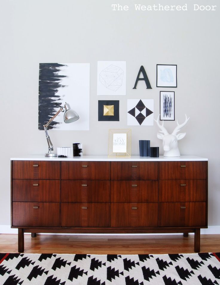 Before & After: Mid Century Modern Credenza with a Glossy White Top - The…