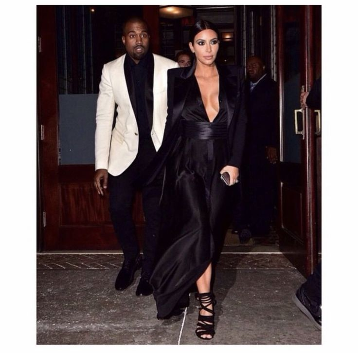 @kimkardashian: Last nights look- a Pierre Balmain dress from years ago, Costume National cummerbund, Balmain blazer and Kanye West heels! These are samples from his 1st fashion show. Kanye is wearing Balmain.