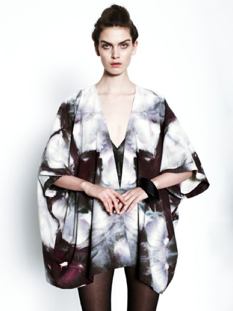 Silk Kimono with abstract patterns using shibori & dip-dyeing, printed fashion details // Upstate