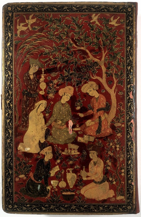 (1632) A physician talking to a patient in a garden; cover of the Canon of Medicine. [Lacquered binding board] (The Wellcome Collection).