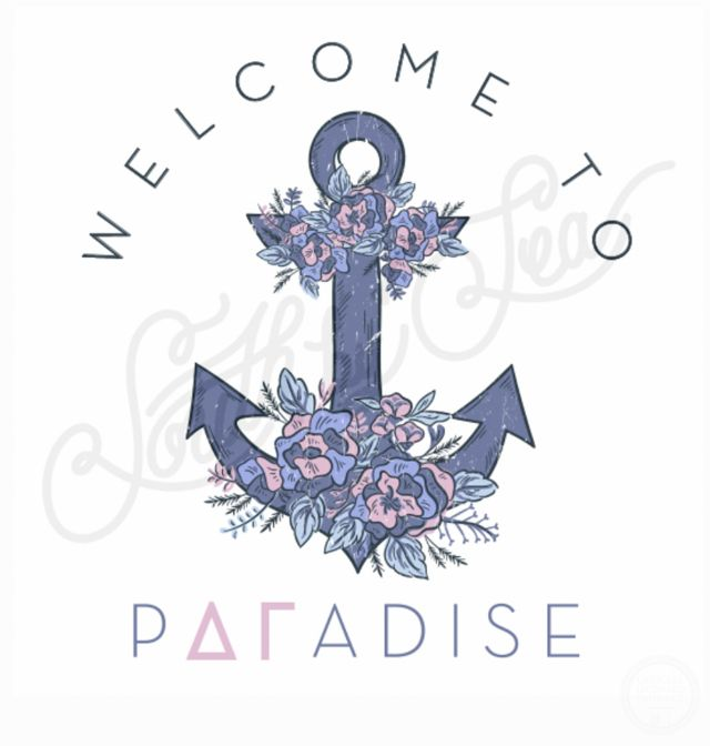 Welcome to Paradise | Delta Gamma | DG | Floral Anchor Design | Sisterhood | Recruitment | Bid Day | South by Sea | Greek Tee Shirts | Greek Tank Tops | Custom Apparel Design | Custom Greek Apparel | Sorority Tee Shirts | Sorority Tanks | Sorority Shirt Designs