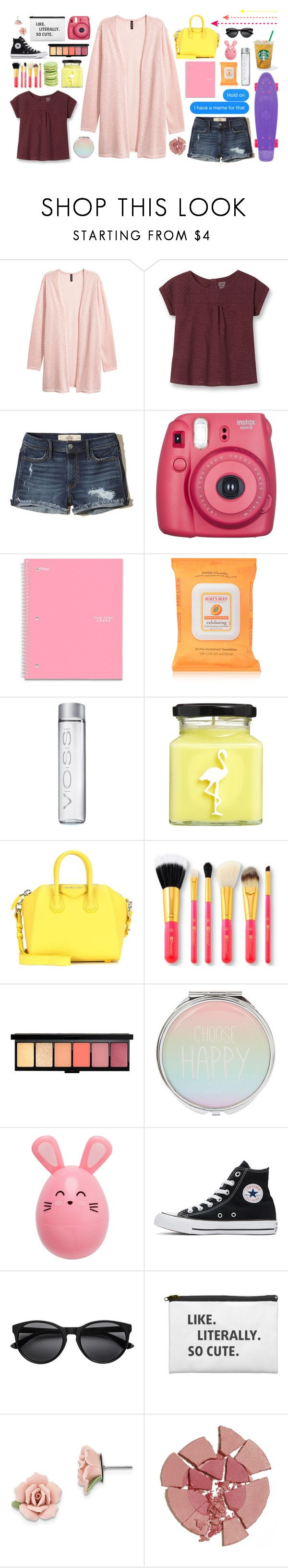"""""""Let Me Love You"""" by omgitslizzy ❤ liked on Polyvore featuring Hollister Co., Penny, Fujifilm, Five Star, Burt's Bees, Flamingo Candles, Givenchy, Converse, 1928 and Charlotte Tilbury"""