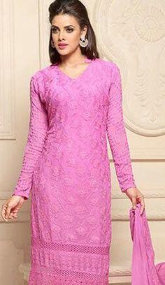 Latest Traditional Pink Chiffon Pakistani Suit