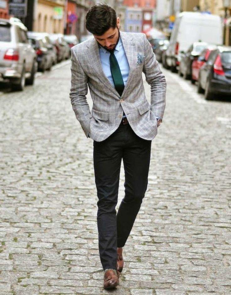 grey blazer black pants men look