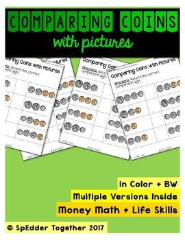 What better way for students to learn about money comparison than with visuals? Incorporate multi-sensory instruction by using real coins (US currency). Coins are to scale! Includes: 2 versions, each in color + BWFonts and graphics from: Kimberly Geswein Fonts Creative Clips Teaching in the Tongass