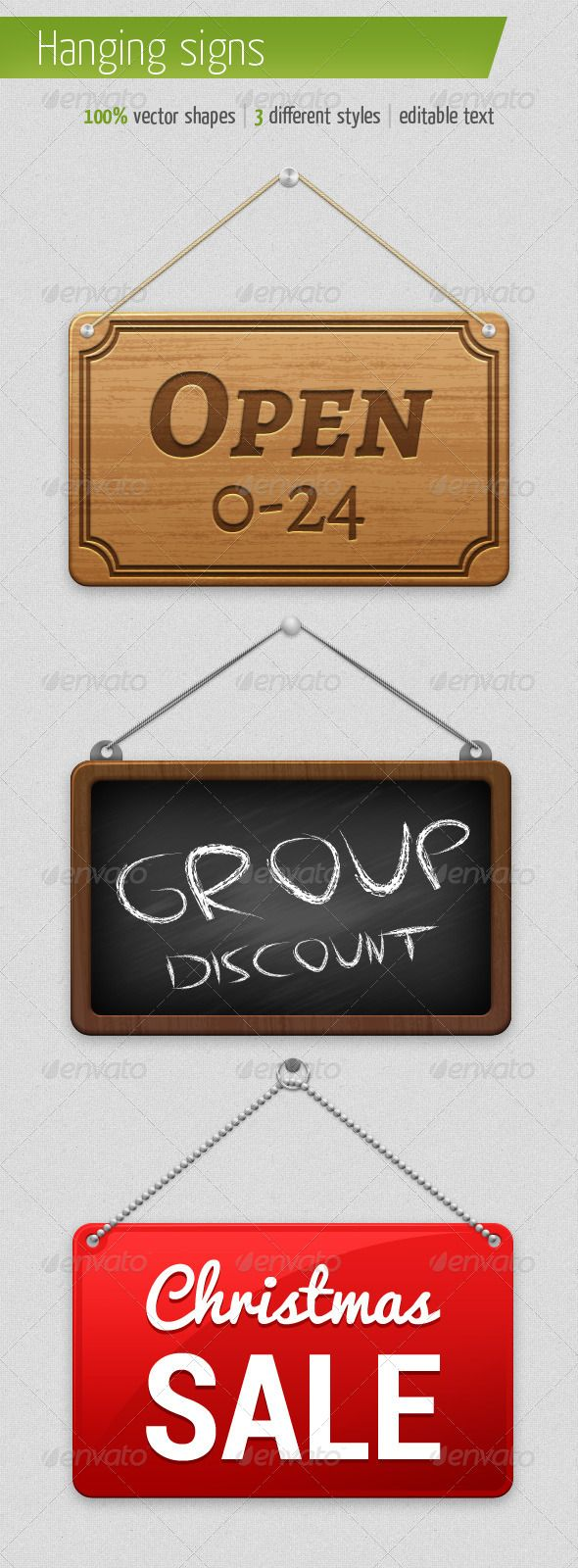 3 Different Hanging Signs #GraphicRiver Multipurpose hanging signs. 100% vector (except some masks), editable, resizable (you can use for printing), can be edited in Photoshop and Illustrator. Organized layers help you to work quickly. Font download links are attached to the file. Created: 5September13 GraphicsFilesIncluded: PhotoshopPSD HighResolution: No Layered: Yes MinimumAdobeCSVersion: CS4 PixelDimensions: 480x440 Tags: board #chalk #chalkboard #discount #frame #hangingsign #metal…