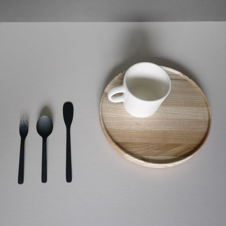 Tea time ... Black coated cutlery by Aizawa   wooden plate by Hasami-pocelain mug by 4th market   www.aaaselect.co