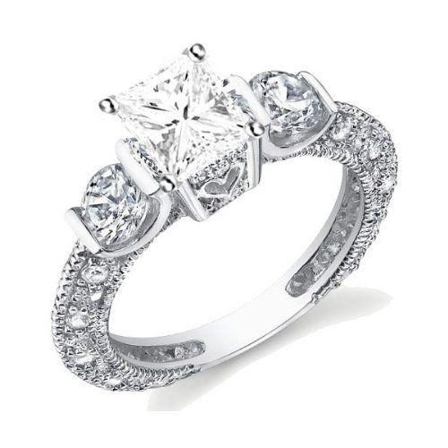 1.67 CaratPrincess Cut DiamonddAntique Multistone Ring on 10K White Gold FineTresor. $9449.97. Center Diamond Cut: Princess. Diamond Clarity: I1-I2. Center Dimond Carat Weight: 1.00. Diamond Color: I-J. Metal: 10 K White Gold