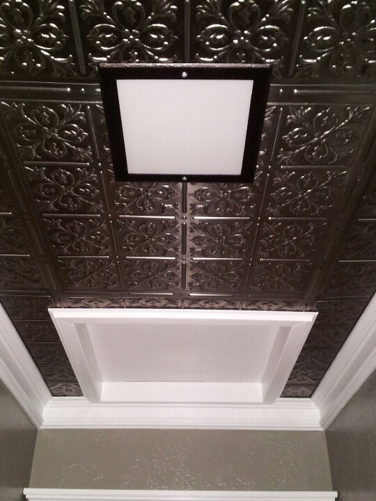 Hallway Tin Ceiling Crown Molding And Attic Entry Small House Makeover Tin Ceiling Hallway