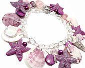 Raspberry Florida Shell Bracelet- Charm Bracelet- polymer clay jewelry- Freshwater pearls