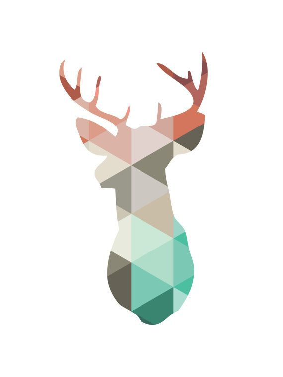 Printable coral and mint deer head antlers wall art - Perfect artwork for a mint and coral event or nursery room. Pair with other mint and