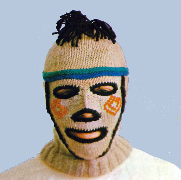 Vintage Knitting Pattern Creepy Balaclava Ski Mask Helmet Mohawk Beard Set 19...