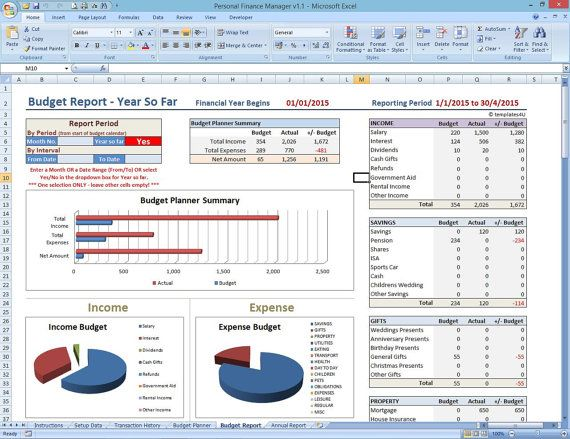 Personal Finance Manager. Excel Template. Money by Templates4U ...