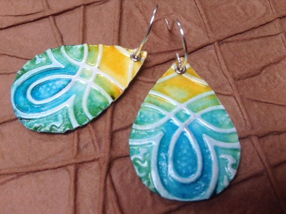 Upcycled Recycled Aluminum Earrings  Yellow by RecyclingRedefined, $12.00