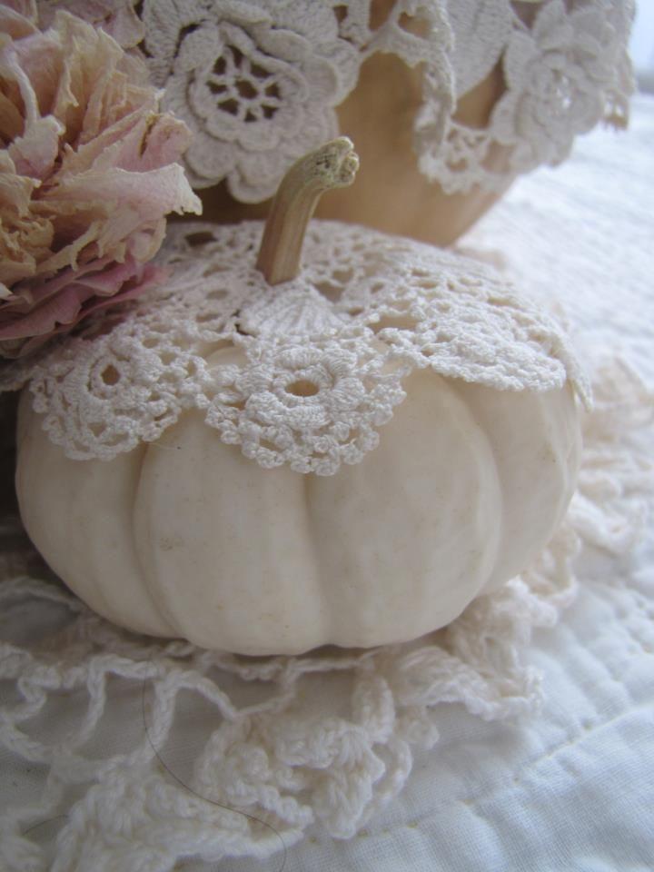 love these precious lace pumpkins wedding pumpkins