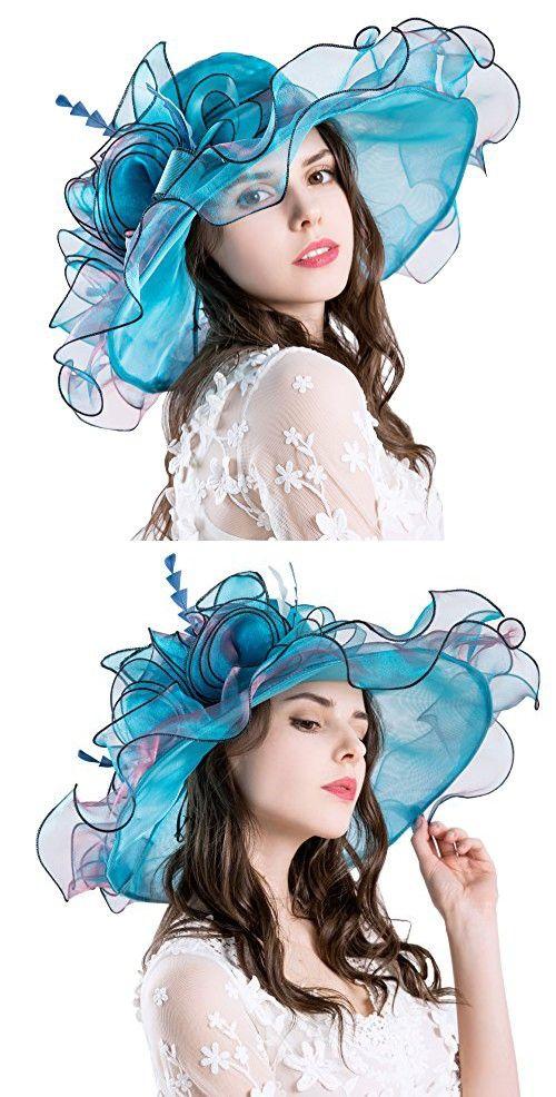 7fedc9b0ea278 Obosoyo Women Foldable Organza Church Derby Hat Ruffles Wide Brim Summer  Beach Sea Sun Hats