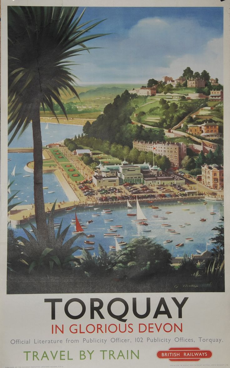 DEVON Torquay In Glorious Devon' by G Bishop, D/R size (25 x 40 ). Cliff top view of harbour, pavilion and town. 1948
