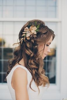 Long, Curly Hair with Gold-Hued Flowers | Wedding Hairstyle
