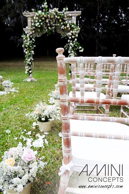 Dominant white ceremony in a springy garden setting. And those limewash Tiffany chairs by Epic Empire just work perfectly! #epicempire #styling #events #weddings #gardenweddings #eventstyling #australia #brisbane #queensland