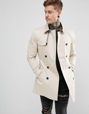 River Island Double Breasted Belted Trench Coat In Light Stone