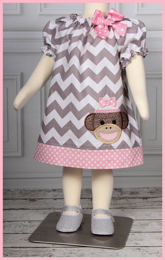 Cute Gray Chevron with Pink Polka dot Sock Monkey Girl Applique Peasant Tunic style dress on Etsy, $28.00