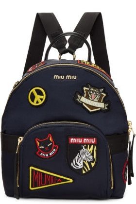 Miu Miu - Sac à dos bleu marine Patches   Wishlist   Pinterest   Miu miu  and Patches fda500ac31