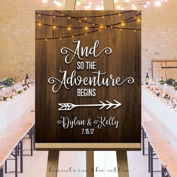 Wedding Adventure Sign Printable Direction Reception Arrows Begins String Lights Welcome Signage Customized Pdf