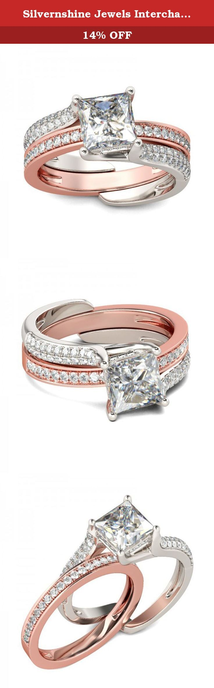 Silvernshine Jewels Interchangable W/ Enhancer In 2 Tone Pink & White Plated Alloy 1.23 Ctw Round Cut Clear Princess & Round Cut Diamonds Bridal Ring. Silvernshine Jewels Interchangable W/ Enhancer In 2 Tone Pink & White Plated Alloy 1.23 Ctw Round Cut Clear Princess & Round Cut Diamonds Bridal Ring.