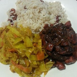 Jamaican Food. Stewed Curry Cabbage, Stewed Chicken, Rice and Peas. Weight Watchers friendly.