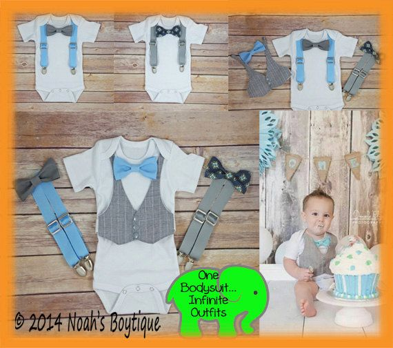 This set comes with the following Interchangeable Accessories: (Set as pictured creates 9 outfits on one bodysuit) 1. Grey Pinstripe Vest 2.