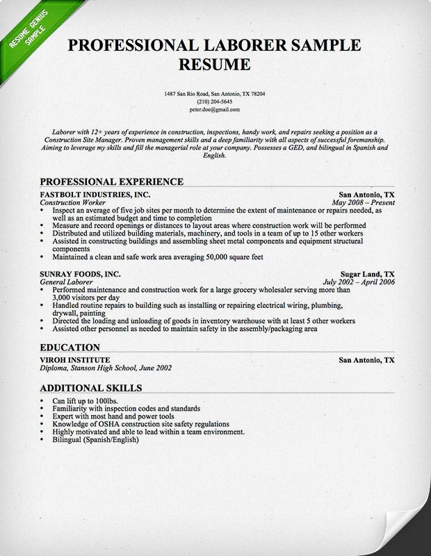 26 best Resume Genius Resume Samples images on Pinterest Sample - sample resume for construction laborer
