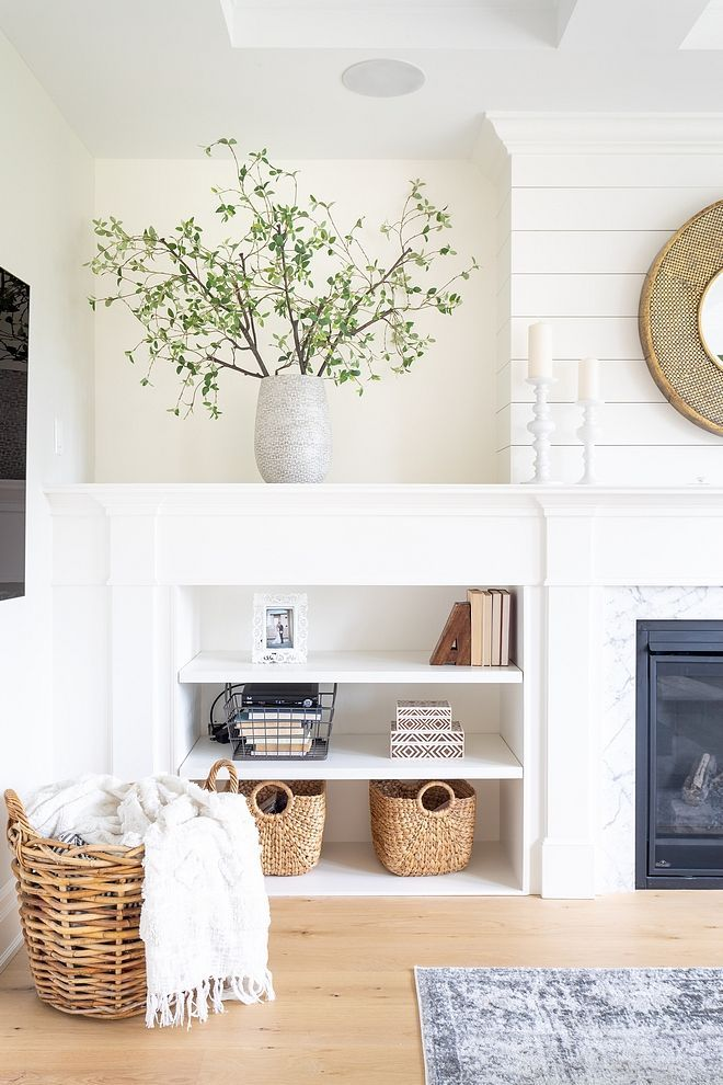 benjamin moore simply white trim fireplace and built ins are rh pinterest com