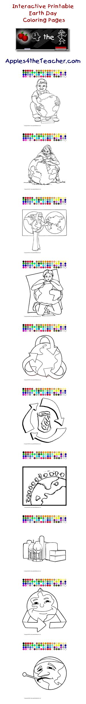 Printable interactive Earth Day coloring pages, Earth Day coloring pages for kids  http://www.apples4theteacher.com/coloring-pages/earth-day/