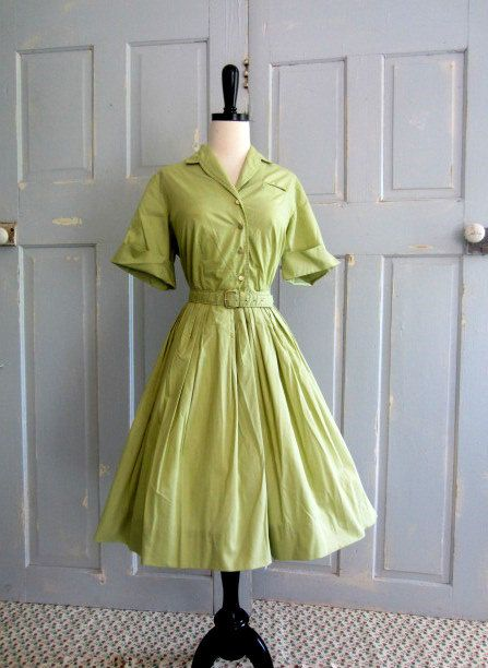 1960s Dress 60s Green Shirt Waist Cotton by SassySisterVintage