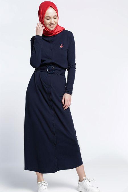 Benin Lacivert Natürel Kumaşlı Elbise 69.90 TL