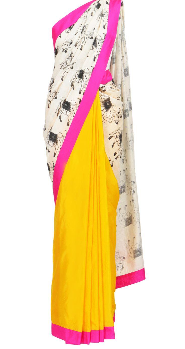 Yellow and Pink Fun Cow-print @MasabaG Saree