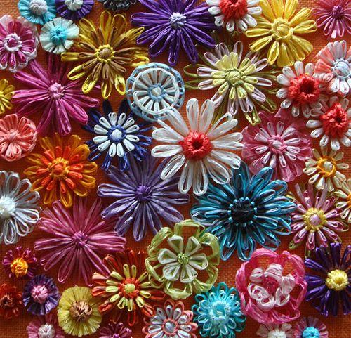 Draadbloemen maken met garen, lintgaren of raffia - Hobby