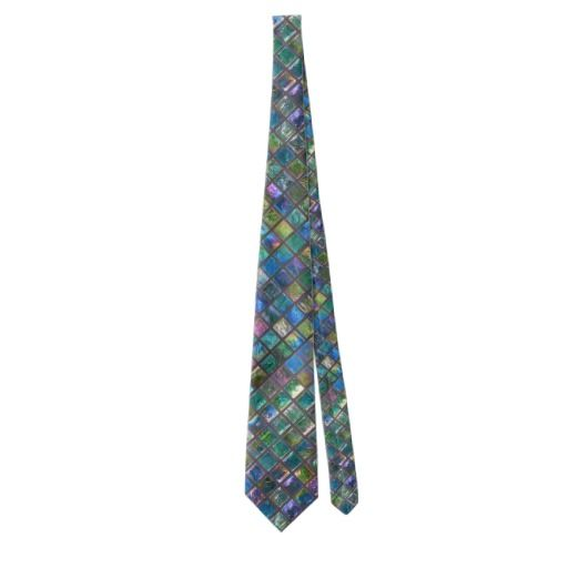 Elegant Glamorous Aqua Colored Shiny Tiles Tie