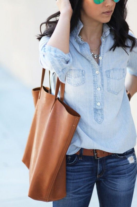 classic casual outfit // chambray shirt with jeans and brown leather bag