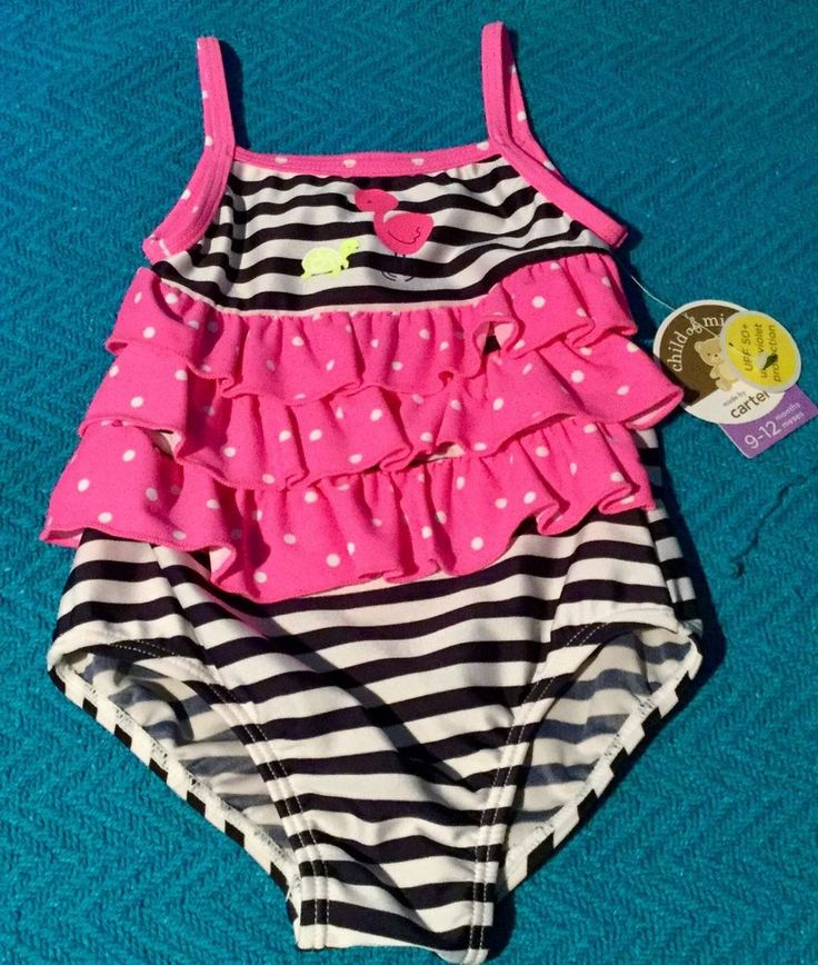 Toddler Girls One Piece Swimsuit Pink Blue Child Of Mine By Carter's 9-12 Months #Carters #OnePiece