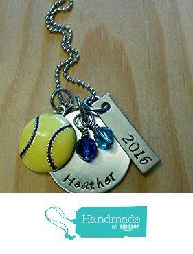 Hand Stamped Personalized Softball Necklace - Softball team gift - You Pick Team Color - Softball Girl Gift from Black Wolf Designs https://www.amazon.com/dp/B01BPLJFG2/ref=hnd_sw_r_pi_awdo_ZdV5yb1MWH1WE #handmadeatamazon