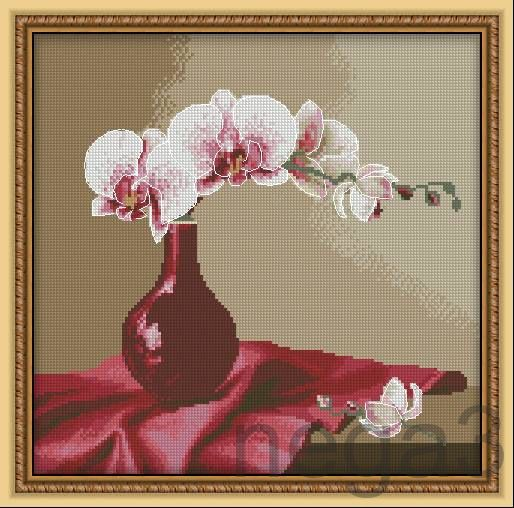 Gallery.ru / Орхидеи на красном - Цветы и натюрморты - Nega3