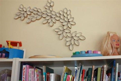 Wall Art from Toilet roll holders, I made this for my girls room, it's one of my favorite crafts
