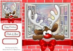 Reindeer Playing Peek A Boo 8x8 on Craftsuprint - View Now!