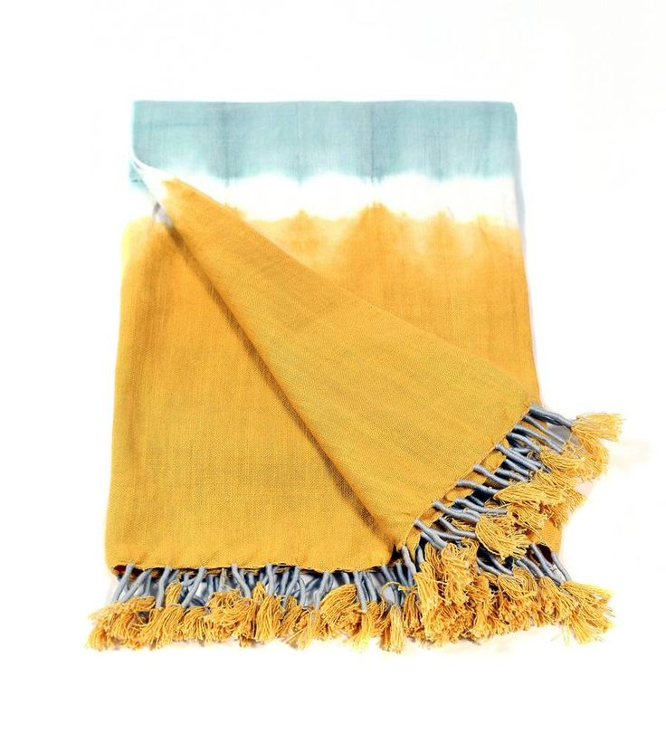 blue and yellow throw blanket