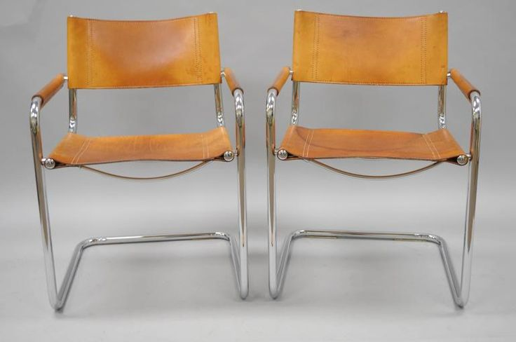 Pair of Cognac Leather Mart Stam for Fasem S34 Dining Armchairs Tubular Chrome 2