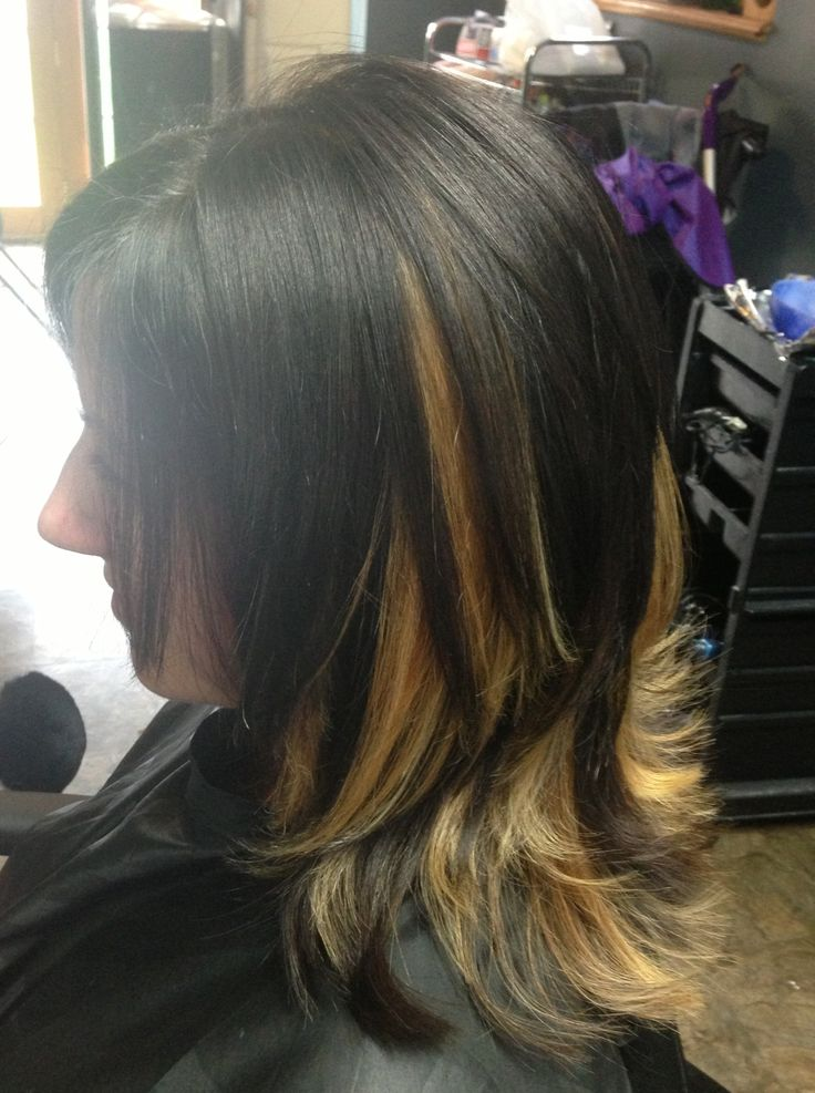 More hair color fun! Dark brown with blonde chunky ...