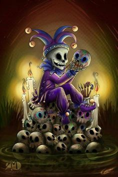 "Skulls:  #Jester with #skulls ~ ""Oficio Hasta la Muerte,"" by Akriel, at deviantART."