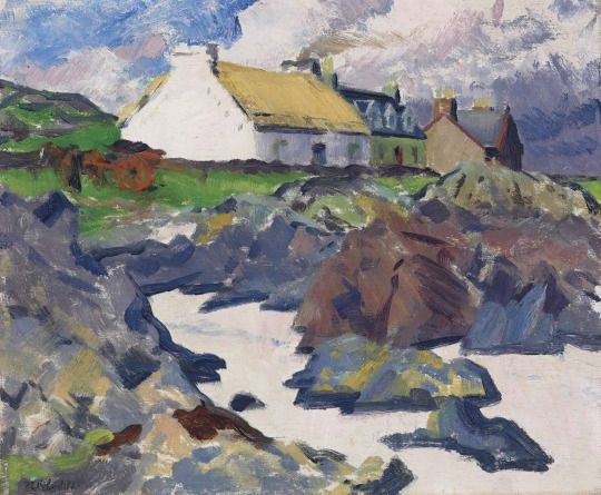 Francis Campbell Boileau Cadell (Scottish, 1883-1937), Cottage on the Shore, Iona, c.1930. Oil on panel, 14 ½ x 17 ½ in.