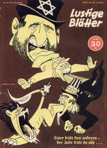 Lustige Blätter, revista nazista associando judeus, comunistas, americanos e ingleses.